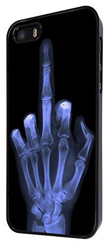 601 - Xray Middle Finger Skeleton Funky Design iphone 4 4S Coque Fashion Trend Case Coque Protection Cover plastique et métal - Noir