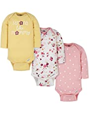 Gerber Baby Girls' 3-Pack Long-Sleeve Onesies Bodysuit