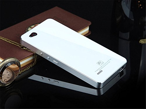DAYJOY New Ultra Thin No Need Screw Aluminum Alloy Protective Metal Bumper Frame Shell Case Cover + 1PC Tempered Glass screen protector Film for ZTE NUBIA Z7 MAX (SILVER+WHITE)