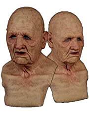 Halloween Old Man Headgear, The Elder Old Man Face Cover Latex Realistic Non-Toxic Male Head Human Look Halloween Cosplay Costumes Decor