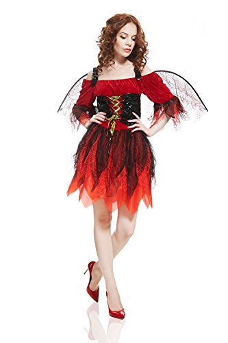 Adult Women Devil Costume Halloween Cosplay Dark Fairy Role Play Demon Dress Up (Small/Medium, Red, (Different Female Halloween Costumes)