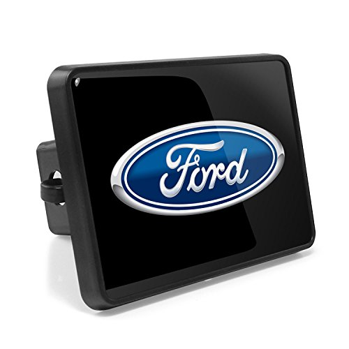 Ford Logo UV Graphic Metal Plate on ABS Plastic 2 inch Tow Hitch Cover, Made in USA