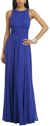 Ssyiz Women's Round Neck Ruched Waist Ladies Long Evening Dress Purple 6