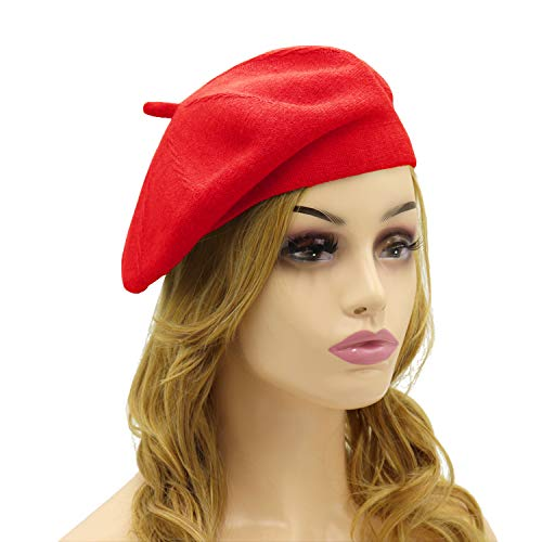 Hats Ladies Leather (French Beret Hat,Reversible Solid Color Cashmere Beret Cap for Womens Girls Lady Adults (Red1))