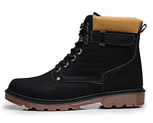 Santimon Mens Chukka Stivali Fodera In Pile Lace Up Impermeabile Antiscivolo Lavoro Allaperto Escursioni Martin Boot Boot Scarpe Invernali Nero