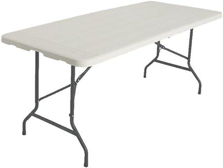 Tavoli In Pvc Pieghevoli.Tavolo Pieghevole 180cm Effetto Legno Bianco Mare Picnic In Pvc