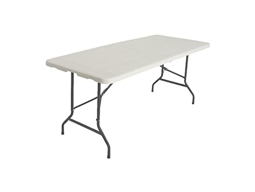Mesa plegable 180 cm efecto madera blanco playa Picnic de PVC ...