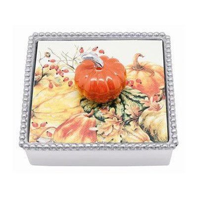 Mariposa Orange Pumpkin Beaded Napkin Box by Mariposa