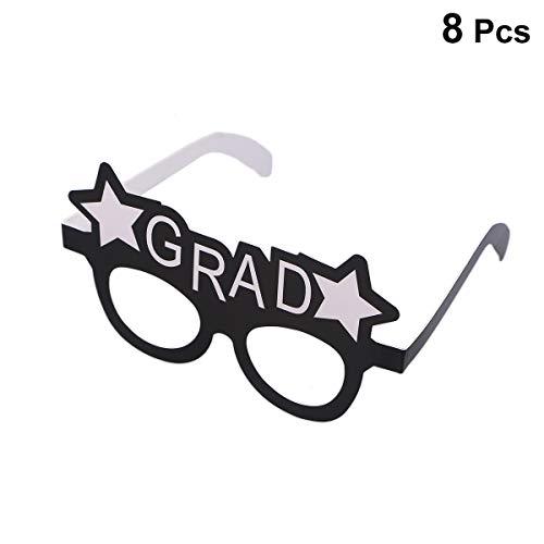 2019 Eyeglasses - Amosfun Graduation Eyeglasses Grad Glasses Frame Fancy Decorative Eyeglasses Celebration Congrats Party Favor for Graduation Party Decorations,Pack of 8