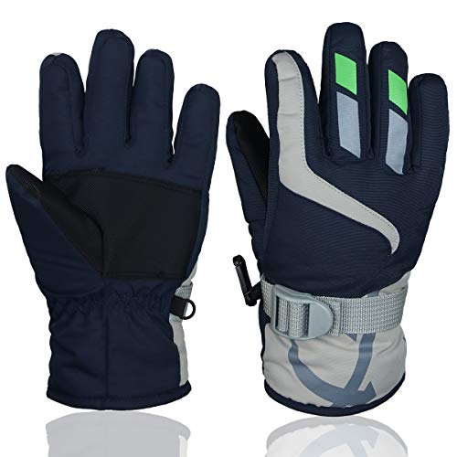 Price comparison product image YR.Lover Children Ski Gloves Winter Warm Outdoor Riding Thickening Gloves (Navy Blue2, L-8-10y)