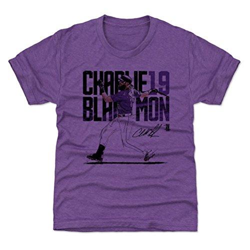 500 LEVEL Colorado Baseball Youth Shirt - Kids Small (6-7Y) Heather Purple - Charlie Blackmon Swing P ()
