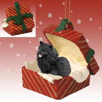 - Conversation Concepts Pomeranian Black Gift Box Red Ornament