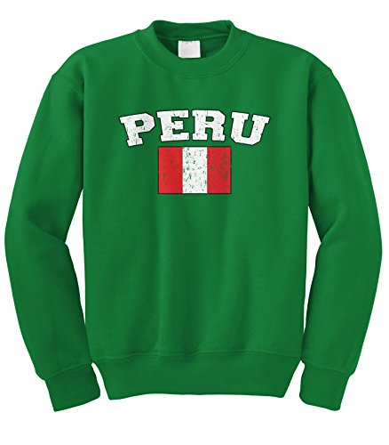 Cybertela Faded Distressed Peru Flag Crewneck Sweatshirt (Kelly Green, Large)