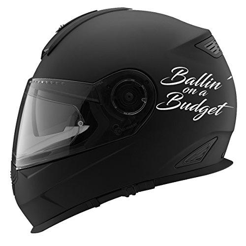 Ballin' On A Budget Auto Car Racing Motorcycle Helmet Decal - 5