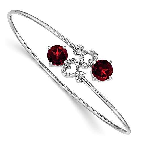 - Jewels By Lux 14k White Gold Garnet Flexible Bangle Bracelet