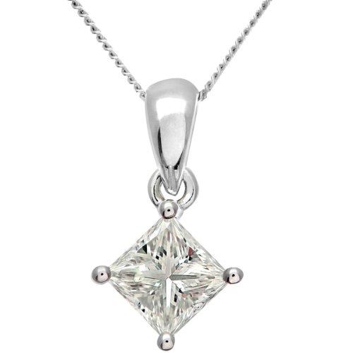 Revoni Bague en or blanc-18carats Solitaire diamant collier pendentif diamant, J/SI