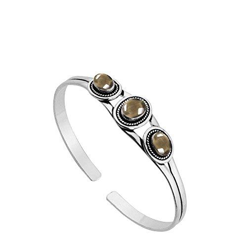 (Sterling Silver Jewelry 5.45ct, Genuine Smoky Quartz & 925 Silver Plated Bangle)
