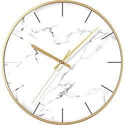 HSGZ Nordic Marble Texture Wall Clock,Home Modern Clock,Personality Creative Living Room Bedroom Fashion Mute Clock-A 12inch
