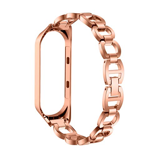 QUICATCH Compatible for Xiaomi Mi Band 3 Watch Band Stainless Steel Chain Style Bracelet Smart Replacement Wrist Band Strap 120-210mm (Rose Gold)