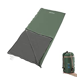 OUTAD Envelope Outdoor Sleeping Bag, Ultra-light Portable Waterproof Spring, Summer & Fall Camping Hiking Sleeping Bag with Compression Bag 37 WATERPROOF AND COMFORTABLE: 320D nylon outer & with 210 T/C cotton liner, 100% polyester filling. Adaptable temperature: 48℉-59℉/ 9-15 ℃ LIGHTWEIGHT AND FOLDABLE: Weight 860g/1.9lb; Folded Size 11.4 x 6.3in/ 29 x 16cm; Unfolded Size 75 x 33in/190 x 85cm MULTI-USE AND DURABLE: Great for traveling, backpacking, hiking, trekking, office and home, ensuring a good sleep for you