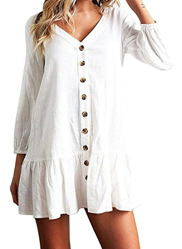 White T Button Mini Front Domple V Casual Women Sleeve Loose Dress Shirt Neck Long Ovpqqw
