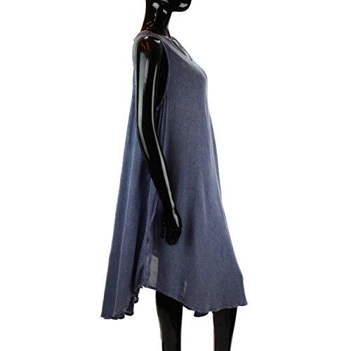 LOUDelephant - Camiseta sin mangas - Túnica - Sin mangas - para mujer azul claro