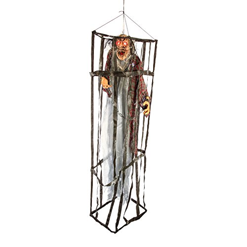 Halloween Haunters Hanging 7 Foot Prison Jail Cell Cage with Screaming Face Zombie Prisoner Flashing Eyes Prop Decoration - Spooky Life-Size Jail Breaking Ghoul - Scary Bars - Haunted House Display
