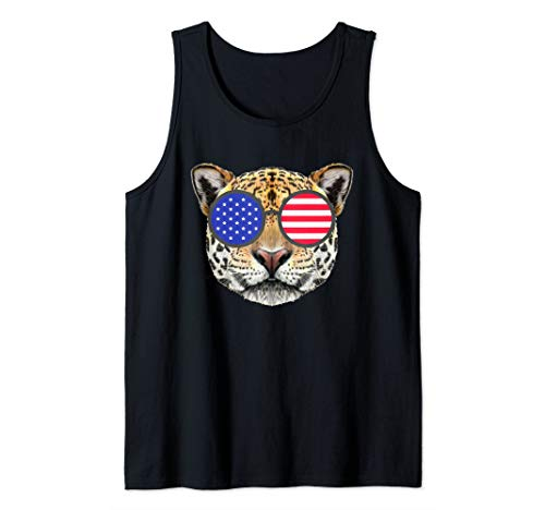 (Funny 4th of July Shirt Jaguar Gifts American Flag Glasses Tank)
