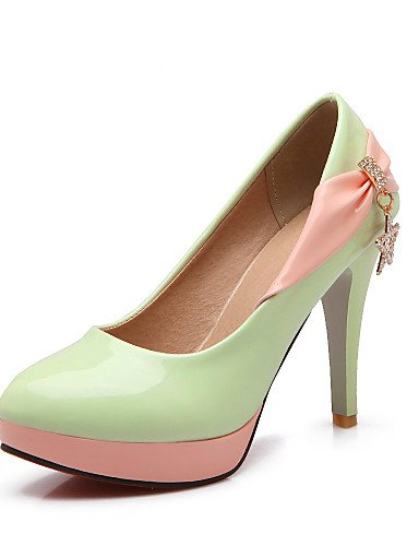 Heels Office eu36 white Casual Sparkling Absatz Karriere uk4 cn36 Schuhe Patent us6 Schleife Herbst Damen Pink Sommer glittergreen GGX Stiletto Leder amp; Bntqfq