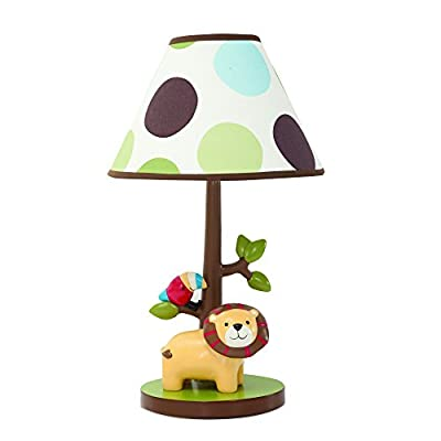 Lambs & Ivy Treetop Buddies Lion Lamp With Shade & Bulb, Brown/Green