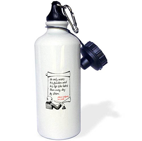 3dRose Alexis Design - Quotes Goethe - Yohann Wolfgang von Goethe quote - He only earns his freedom - 21 oz Sports Water Bottle (wb_285898_1) by 3dRose