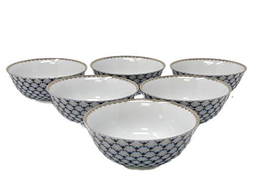 (Cobalt Blue Net Tea Piala Cups, SET of 6, Capacity 6.75 Oz, Russian Lomonosov Design Saint Petersburg)