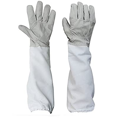 Protective Beekeeping Gloves Professional Beekeepers Equipment Goatskin Bee Keeping Vented Long Sleeves XL Gray