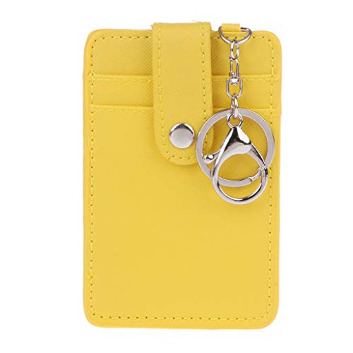 Wodwad Portable ID Card Holder Bus Cards Cover Case with Keychain Keyring Tool (Yellow)