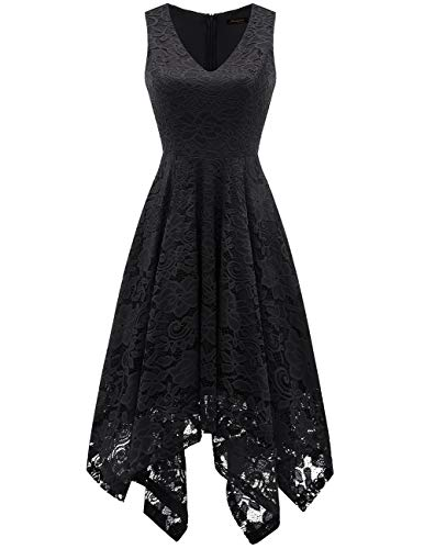 - Meetjen Women's Vintage Floral Lace Dress Handkerchief Hem Asymmetrical Cocktail Formal Swing Dress Black L