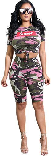 - Shinfy Women's 2 Pieces Outfits Letter Print Crop Top Bodycon Short Pants Rompers