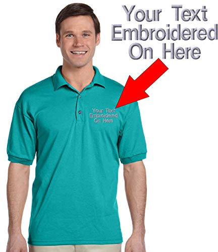Custom Text Embroidered Jersey Polo, Dry Blend Polo Shirt (L, Jade)