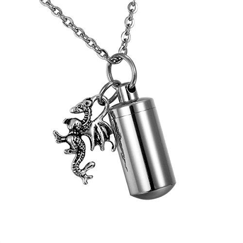 HooAMI Cremation Jewelry Pterosaur Dragon Cylinder Memorial Urn Pendant Ash Keepsake Keychain