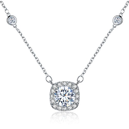 (SBLING Platinum Plated AAAA Cubic Zirconia Cushion Shape Halo Pendant Necklace (1.90 cttw)- Gifts for Women/Girls)