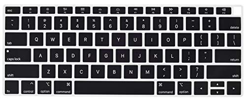 Black Premium Silicone Cover - CaseBuy Premium Keyboard Cover Compatible 2018 Release MacBook Air 13 Inch with Touch ID Model A1932 Soft-Touch Ultra Thin Silicone Protective Skin, Black