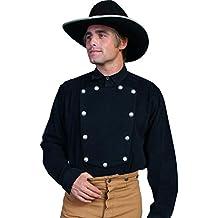Scully Brushed Twill Cotton Bib Mens Shirt - Black