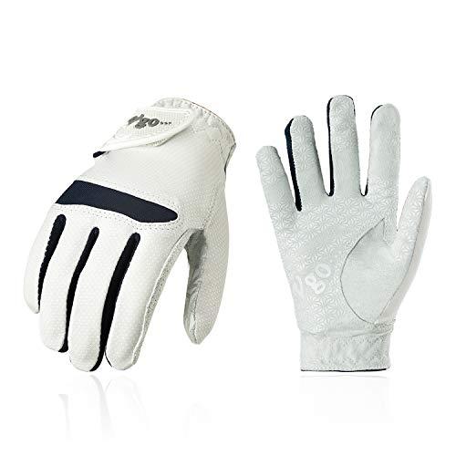 Vgo... Golfhandschuhe für Jugend, Mikrofaserpalmen, weich und atmungsaktiv(1 Paar, Weiß, MF7991)