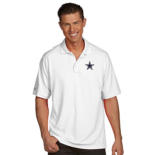 NFL Dallas Cowboys Mens Antigua Pique Xtra Lite Polo, White, ()