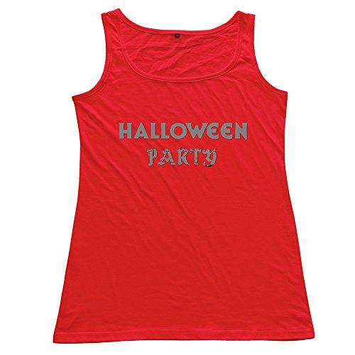 Halloween Party Logo Woman 100% Cotton Sleeveless Sweater Red -