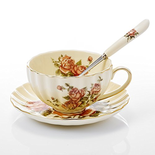 Panbado 3-Piece Creative Hand Painted Ivory China Coffee Tea Set Gold Rimmed Floral Porcelain Tea Service with 10 Ounce 5