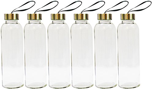 - Golden Spoon Glass Water Bottles with Sleeves - 18 Oz Pack of 6 - Sturdy & Durable Construction - Stainless Steel Caps with Carrying Loop - Ideal for Beverages, Juice & Water, Lead and BPA Free