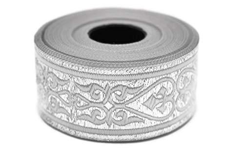 10 Yards 1.37 inch Pure Silver Royal Celtic Heart Jacquard Ribbon, Heart Embroidered Ribbons, Jacquard Trim, Ribbon Trim, Sewing Trims