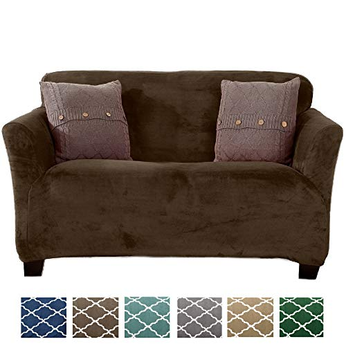 Great Bay Home Form Fit, Slip Resistant, Stylish Furniture Shield/Protector Featuring Velvet Plush Fabric Magnolia Collection Strapless Slipcover (Loveseat, Walnut Brown - Solid)