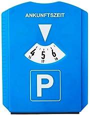 Relaxdays Parkeerschijf, verpakking van 10 stuks, ijskrabber, 3 winkelwagenchips, rubberen lip, parkeerklok, auto, verkeersreglement, kunststof, blauw