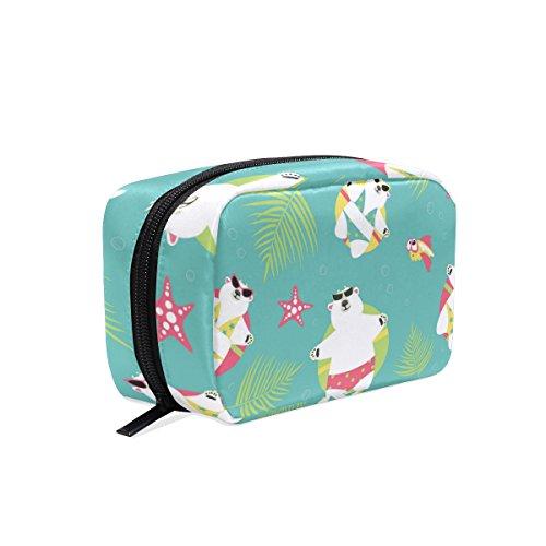 ALAZA Seamless Background With Polar Bears Makeup Case Bag A
